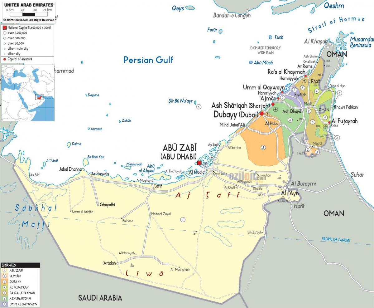 Dubai Politiske Kort Politiske Kort Over Dubai Forenede