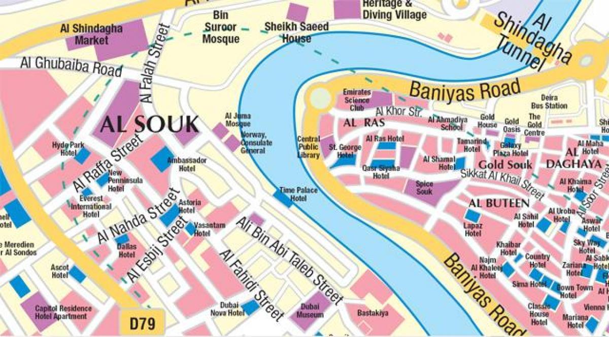 Gamle Dubai Kort Kort Over Det Gamle Dubai Forenede Arabiske